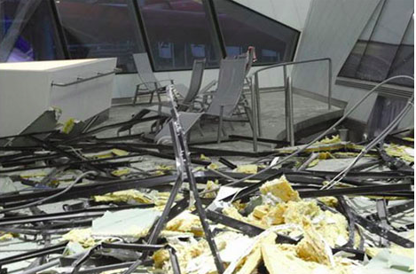 The roof of Daniel Libeskind's Westside Shopping Center in Bern, Switzerland has collapsed twice since its completion in 2008, the second failure injuring three people and narrowly missing a small child (refer to hyperlink)...
